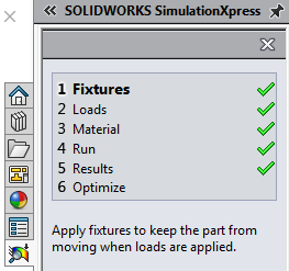 Task Pane SOLIDWORKS SimulationXpress